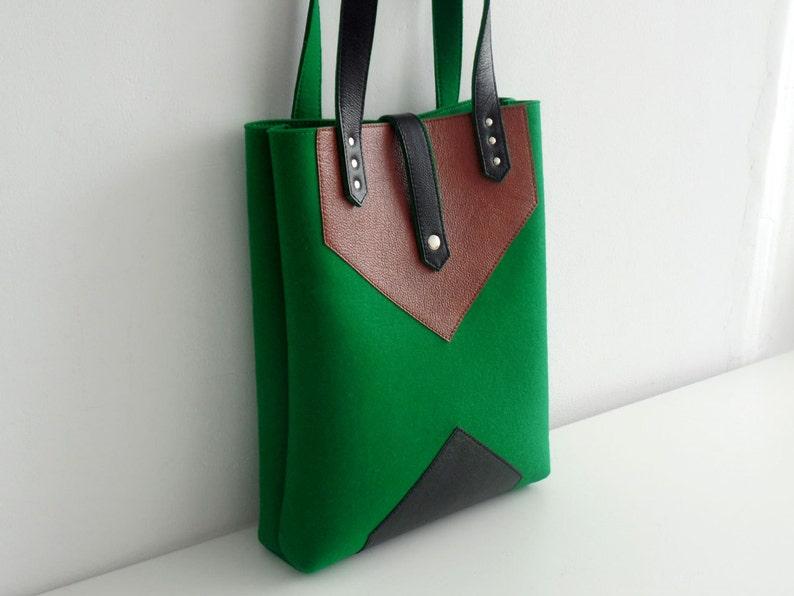 Green Black Brown Wool Felt Leather Tote Bag