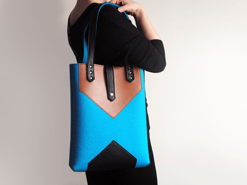 Turquoise Blue Brown Black Wool Felt Genuine Leather Tote Bag