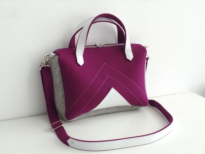 Purple Gray White Wool Felt Leather Crossbody Bag