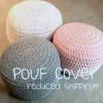 COVER for Pink and Grey Blue Hand Crochet Ottoman Pouf, Footstool, Cushion! Perfect gift for baby showers!