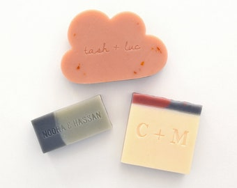 Custom Stamped Cloud Soap Favours - Personalised for your Wedding, Bridal Shower, Baby Shower, Birthday