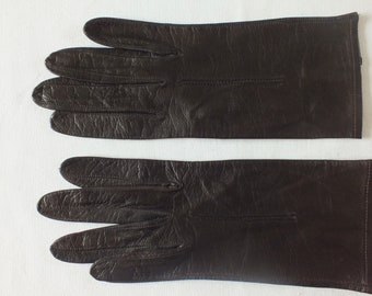55255d6907c66 Vintage FINE LEATHER Chocolate Brown GLOVES Size 6 -6 .5 Approx.Beautiful