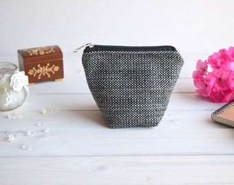 Charger case, Cosmetic pouch, Make Up Pouch, Toiletery bag, Project bag, Travel bag, Coin Purse, Black white charger bag with zipper