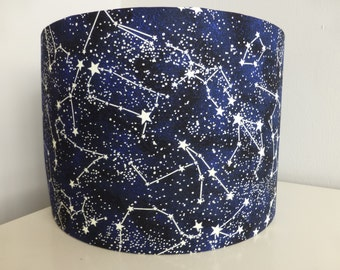 Glow-in-the-Dark Space*Galaxy*Stars*Constellations Cotton Fabric Drum Lampshade ~ 30cm & 20cm diameter