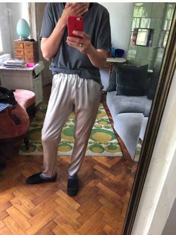 38/ S/M Silk silver grey trousers/ elastic waist/