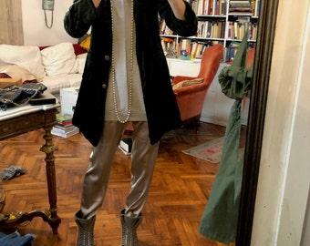 S/ Green crushed velvet coat jacket / women duster kimono trench