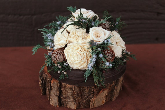 Rustic Winter Rose Wedding Cake Topper Woodland