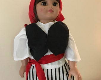 Pirate Costume for an 18 inch Doll