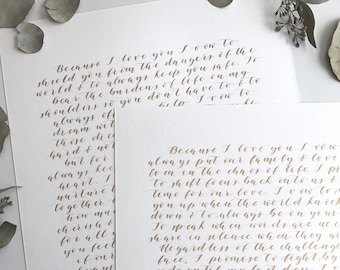 Custom Wedding Vow Calligraphy, Calligraphy Vows, Written Vows, Wedding Vow Art, Wedding Vows Print, Custom Calligraphy, Paper Anniversary