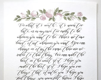 Wedding Vow Calligraphy, Calligraphy Vow, Custom Calligraphy, Custom Watercolor Vows, Wedding Vow Art, Wedding Vows Print, Paper Anniversary