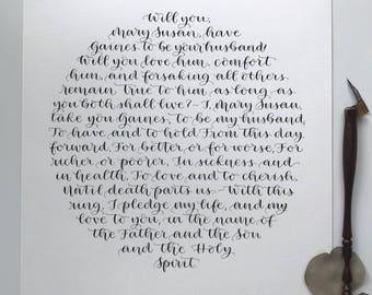 Calligraphy Wedding Vows, Wedding Vows Print, Custom Calligraphy, Custom Calligraphy Print, Paper Anniversary Gift, First Dance Lyrics