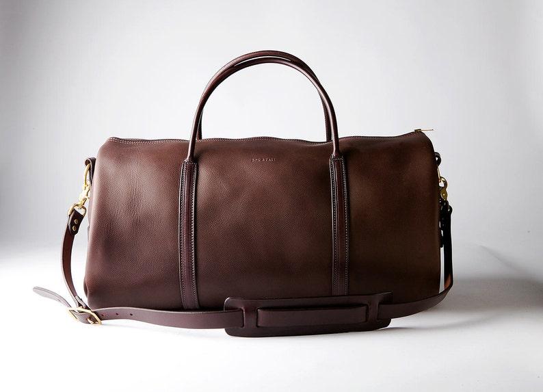 Brown Leather Weekender Bag GORGEOUS Handmade in America by image 0