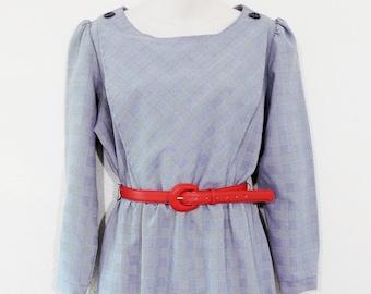 Vintage 70s Houndstooth Plaid Print Dress