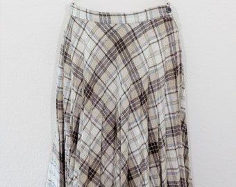 Vintage 70s Beige and Gray Plaid Pleated Skirt