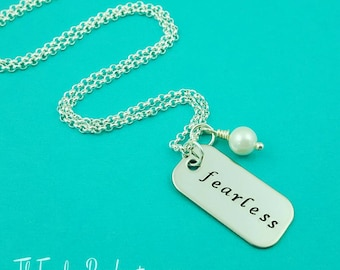Fearless Necklace, Graduation Gift, Handstamped Necklace, Fearless Jewelry, Silver Bar Necklace, Pearl Necklace, Motivational Jewelry, Grads