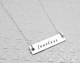 Fearless Bar Necklace, Graduation Gift, Motivational Jewelry, Inspirational Necklace, Fearless Necklace, Handstamped, Be Fearless, Grad Gift