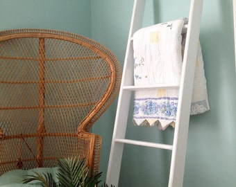 6ft Decorative Blanket Ladder, 6ft White Wood Ladder, Tall Wooden Ladder, Fixer Upper Style Ladder
