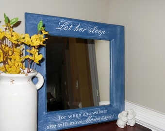 "Blue Mirror ""Let her sleep for when she wakes she'll move Mountains"" Phrase Shabby Chic Mirror, Rustic Wood Mirror. Wood Pallet Mirror"