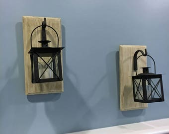 Set of Hanging Lantern Sconces, Farmhouse Wall Decor, Lantern Sconcs, Black Lanterns, Wood Sconces with Lantern, Country, Small
