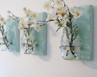 RECLAIMED WOOD VASES, Hanging Wall Decor In Sea Breeze Blue, Mason Jar Sconces | Hanging Planters,  Set Of 3 Hanging Wall Sconces | Mason Ja