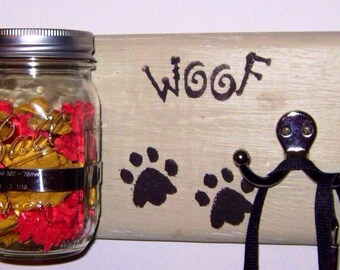 Dog Leash Holder Dog Treat Holder Dog Leash Hook Dog Leash Jar Dog Leash Hanger Rustic Key Hook Leash Holder Home and Living Home Decor