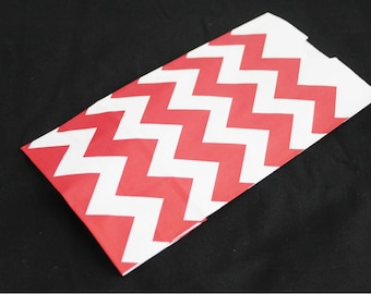 25 Red and White Chevron Paper Bags for Party Favors or Small Gifts 4-1/4x8x2-1/4
