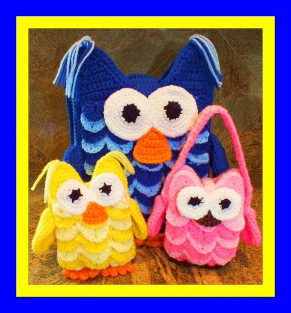 Owl Backpack Owl Doll and Owl Purse Patterns© Crocodile  15b082d934f