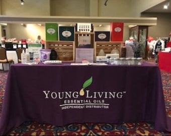 Promotional tablecloth, YL tablecloth 6ft or 8ft options, vendor tablecloth, trade show tablecloth, Young Living, lularoe, doterra, custom