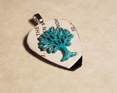 Guitar Pick Necklace from Vinyl record - Tree of Life