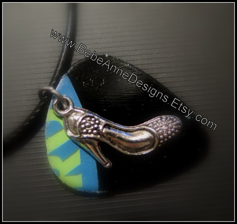 Guitar pick necklace made from Vinyl Record  Stiletto shoes image 0