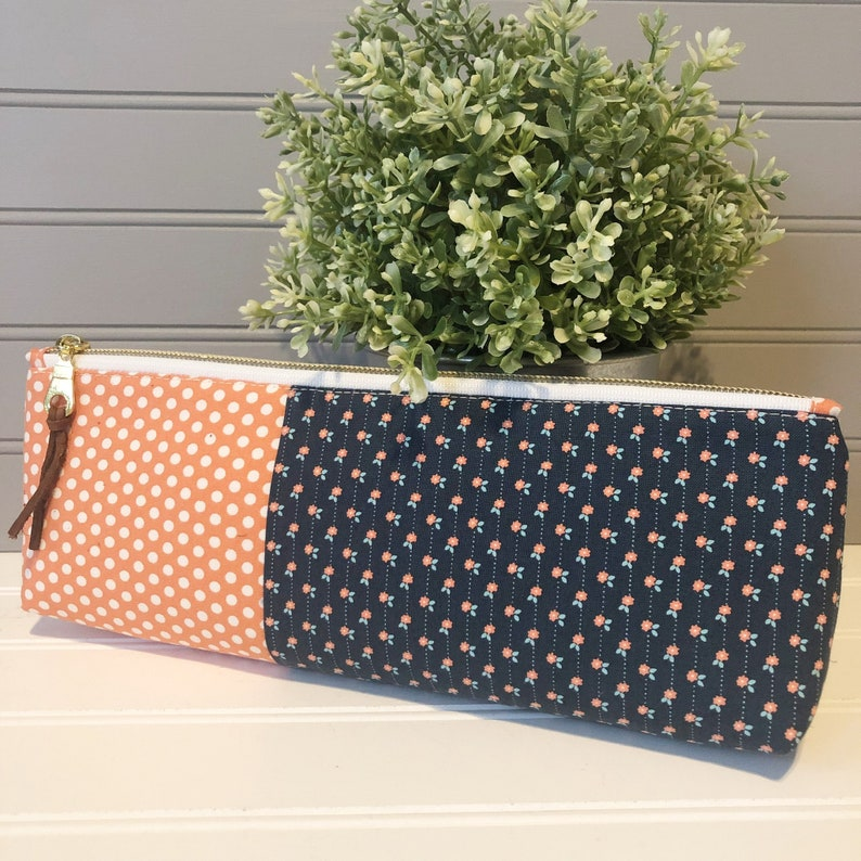 Make Up Bag Orange and Navy Print Pencil Pouch Zipper Pouch