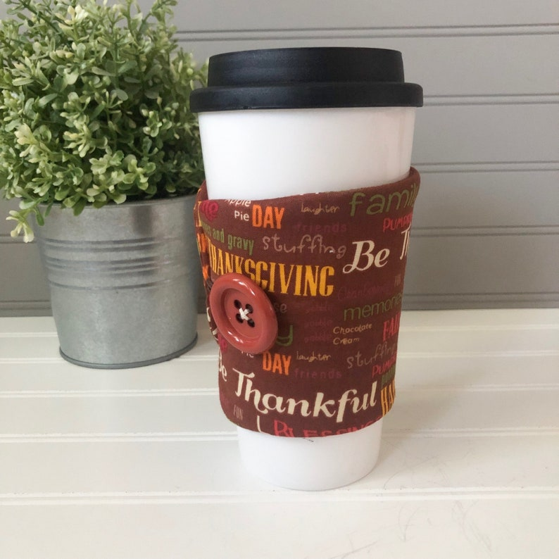 Button Coffee Cozie  Thanksgiving Print image 0