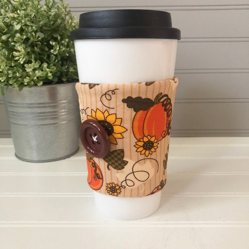 Button Coffee Cozie  Fall Pumpkin and Sunflower Print image 0