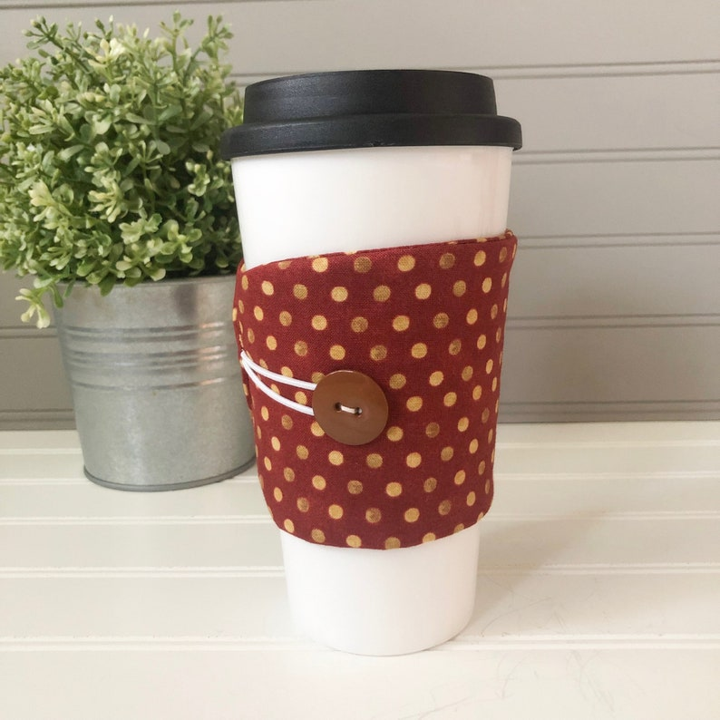 Button Coffee Cozie  Rust Polka Dot Print image 0