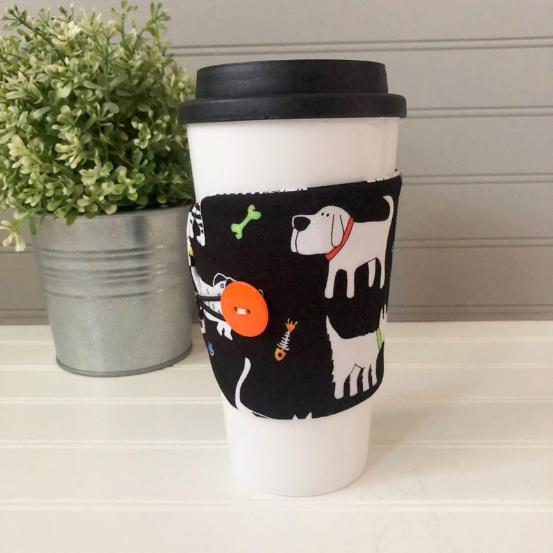 Button Coffee Cozie  Dog Print image 0