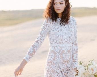 Long sleeve lace wedding dress- Bohemian wedding dress- Crochet lace wedding dress- The Orchid dress