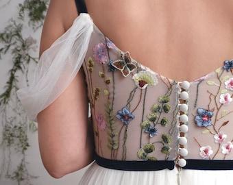 Anastasia- Colourful version. Colourful wedding dress, embroidered wedding dress, fairytale wedding dress, floral wedding dress.
