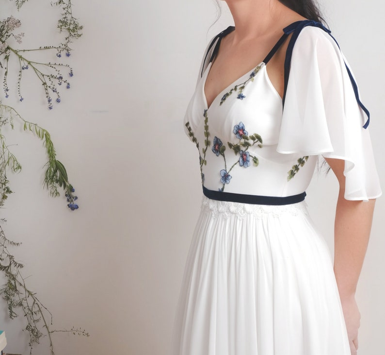 Forget me not  Embroidered wedding dress floral wedding image 0
