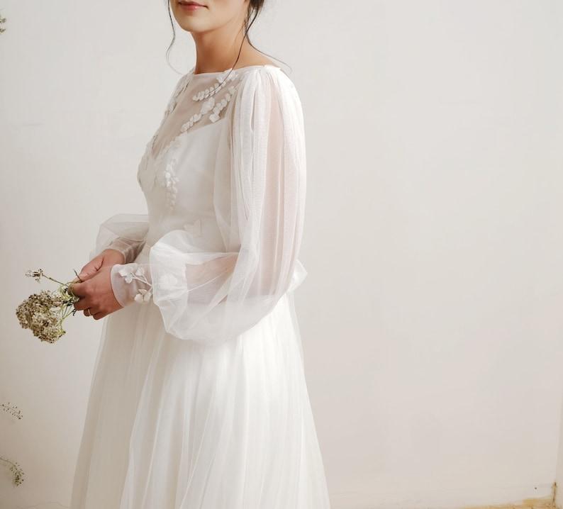 Amoret wedding dress bishop sleeve wedding dress tulle image 0
