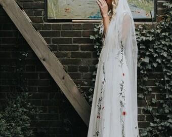 Bridal Veil- Dayflower veil- floral veil - colourful veil - wedding veil