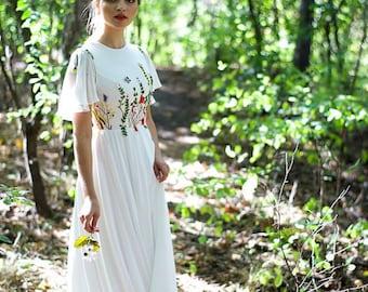 Floral wedding dress- Bohemian wedding dress- garden wedding dress- The Dayflower dress