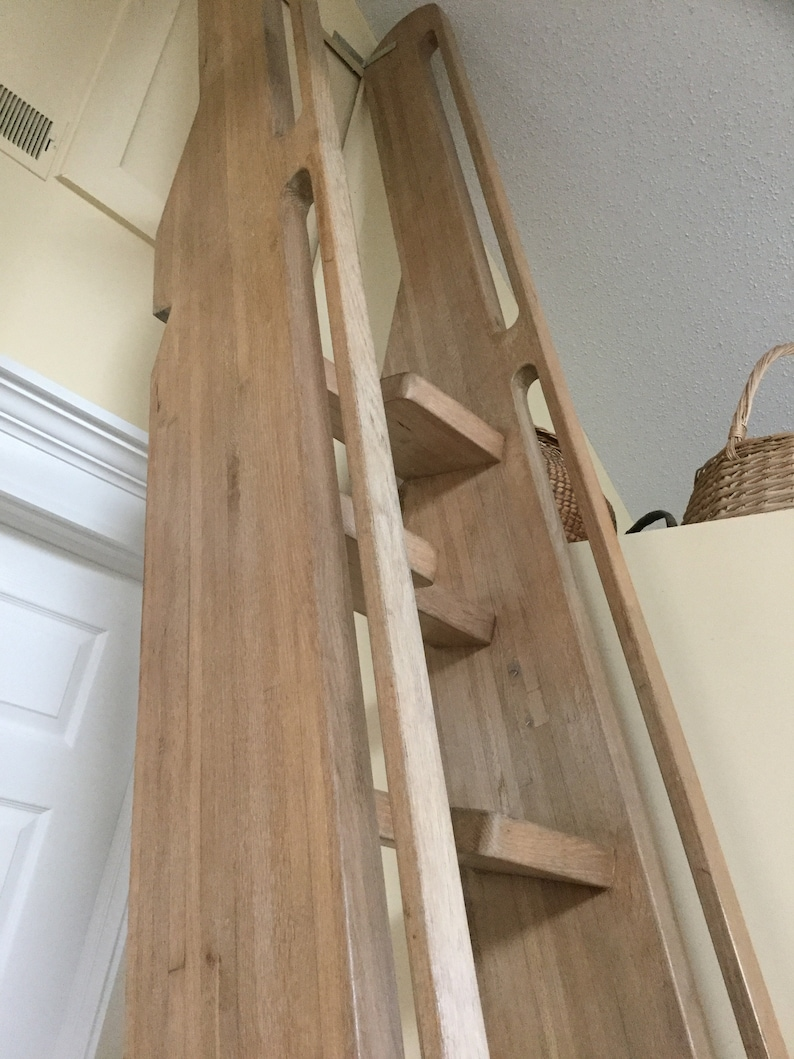 Vintage Loft Library Ship Oak Ladder-Stairs Steps 13-ft 8-inches-Nine Alternating Treads-Integrated Hand Rails-Shipping Is Not Free