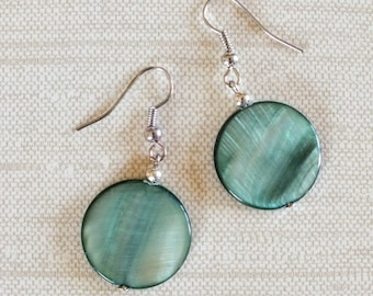 Teal Dyed Mother of Pearl Shell Earrings