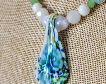 Lampwork Glass Flower Pendant with Magnetic Clasp