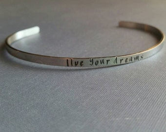Cuff bracelet, skinny cuff, mantra cuff bracelet, stainless steel, stacking cuff bracelet, quote cuff bracelet, saying cuff bracelet