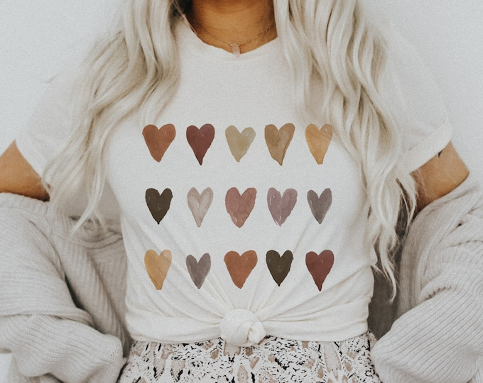 Featured listing image: Artsy Melanin Skin Tone Kindness Watercolor Hearts Soft Graphic Tees (Unisex for Women)