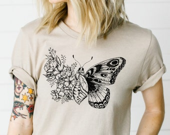 Butterfly Breath Illustrated Floral Wing Print   DesIndie   UNISEX Relaxed Jersey T-Shirt for Women