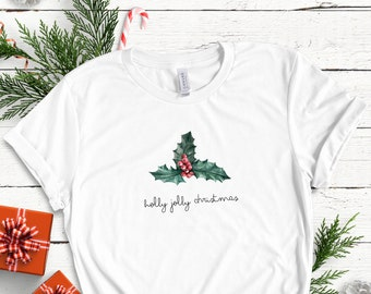 Holly Jolly Christmas Berry Botanical Inspired Soft Unisex (for Women) Bella Graphic Tees
