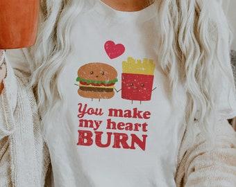 You Make My Heart Burn Vintage Valentines Retro Soft Unisex Bella Graphic T-shirt (for women and men)