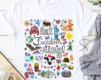 Let Freedom Ring Patriotic American Flag 4th of July   It's The Little Things   UNISEX Relaxed Jersey T-Shirt for Women
